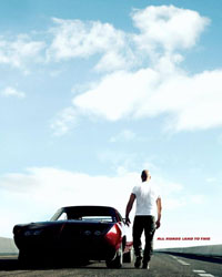 Vin Diesel walks off into the sunset, his job done..