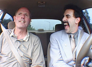 The driving instructor got an unpleasant surprise when Borat sneezed on him.