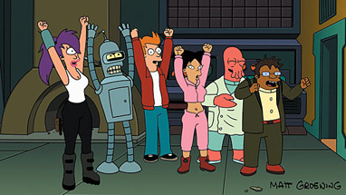 The Futurama gang celebrates their big release day.