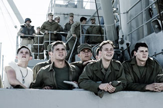 The cast looks on in envy at the Letters from Iwo Jima shoot across the way.