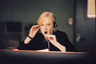 Nicole Kidman sits in a team's war room during the NFL draft.