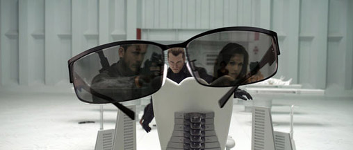 The sunglasses reveal the the villain may be in trouble.