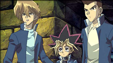 Joey, Yugi Mutou and Tristan are stunned by their movie's success.