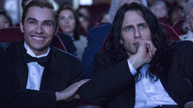 Dave Franco and Lestat enjoy a night out at the movies.