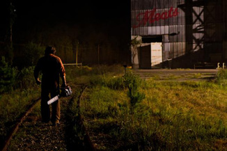 Sometimes a guy with a chainsaw just wants to take a nice late night walk on the train tracks.