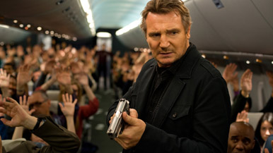 This is not footage from Non-Stop. Neeson isn't allowed to fly commercial now.