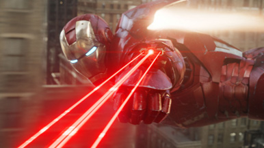 Iron Man uses a laser to ensure the decimation of the box office record.