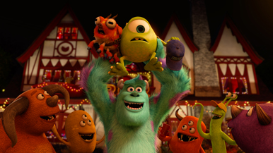 Is Sully playing soccer with Mike Wazowski as the ball?
